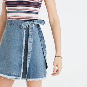 Madewell Wrap Denim Mini Skirt